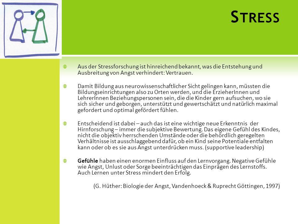 S TRESS Aus der Stressforschung ist hinreichend bekannt, was die Entstehung und Ausbreitung von Angst verhindert: Vertrauen. Damit Bildung aus neurowi