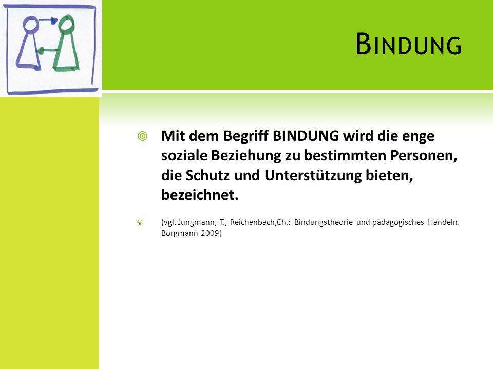 B INDUNG Mit dem Begriff BINDUNG wird die enge soziale Beziehung zu bestimmten Personen, die Schutz und Unterstützung bieten, bezeichnet. (vgl. Jungma
