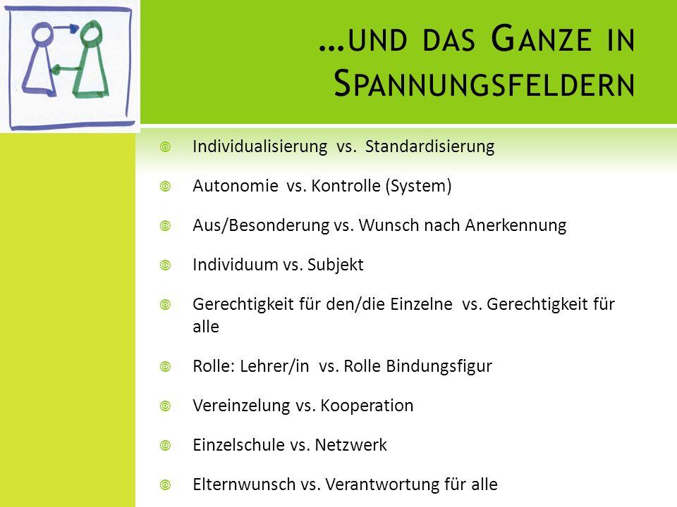 … UND DAS G ANZE IN S PANNUNGSFELDERN Individualisierung vs. Standardisierung Autonomie vs. Kontrolle (System) Aus/Besonderung vs. Wunsch nach Anerken