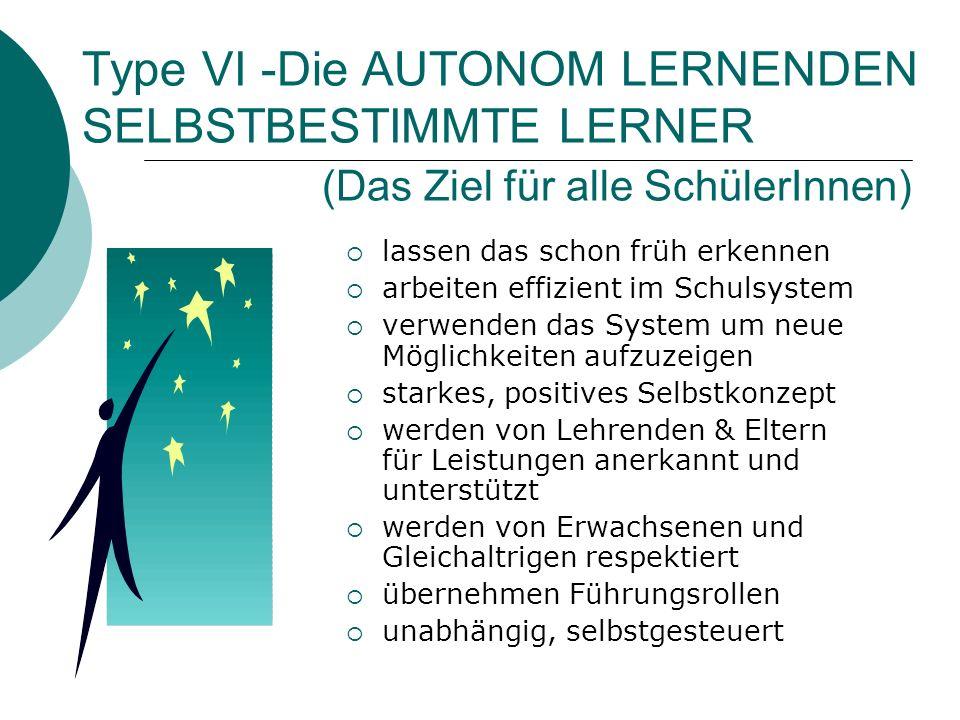 Type VI -Die AUTONOM LERNENDEN SELBSTBESTIMMTE LERNER (Das Ziel für alle SchülerInnen) lassen das schon früh erkennen arbeiten effizient im Schulsyste