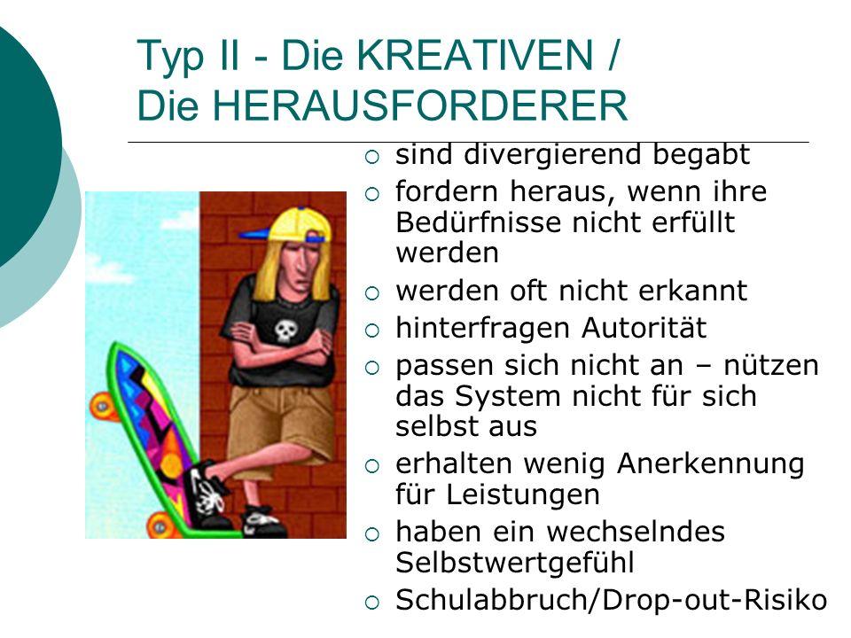 Typ II - Die KREATIVEN / Die HERAUSFORDERER sind divergierend begabt fordern heraus, wenn ihre Bedürfnisse nicht erfüllt werden werden oft nicht erkan