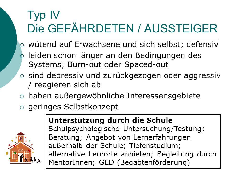 Typ IV Die GEFÄHRDETEN / AUSSTEIGER wütend auf Erwachsene und sich selbst; defensiv leiden schon länger an den Bedingungen des Systems; Burn-out oder