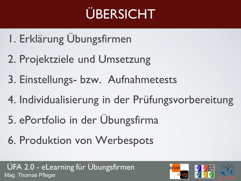 1. Erklärung Übungsfirmen 2. Projektziele und Umsetzung 3. Einstellungs- bzw. Aufnahmetests 4. Individualisierung in der Prüfungsvorbereitung 5. ePort