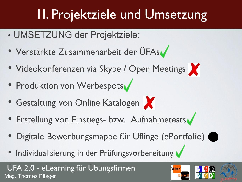 UMSETZUNG der Projektziele: Verstärkte Zusammenarbeit der ÜFAs Videokonferenzen via Skype / Open Meetings Produktion von Werbespots Gestaltung von Onl