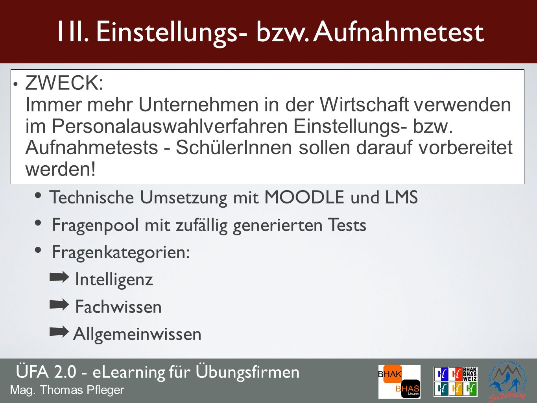 ÜFA 2.0 - eLearning für Übungsfirmen 1II.Einstellungs- bzw.