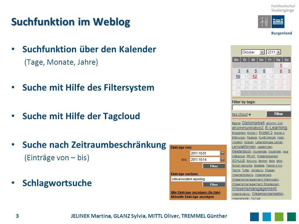 Suchfunktion im Weblog Suchfunktion über den Kalender (Tage, Monate, Jahre) Suche mit Hilfe des Filtersystem Suche mit Hilfe der Tagcloud Suche nach Z