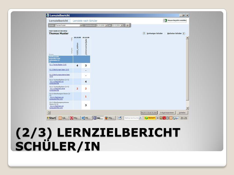 (2/3) LERNZIELBERICHT SCHÜLER/IN