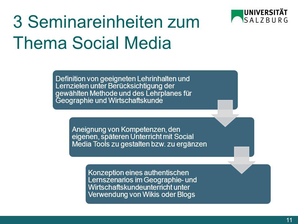 3 Seminareinheiten zum Thema Social Media 11 Definition von geeigneten Lehrinhalten und Lernzielen unter Berücksichtigung der gewählten Methode und de
