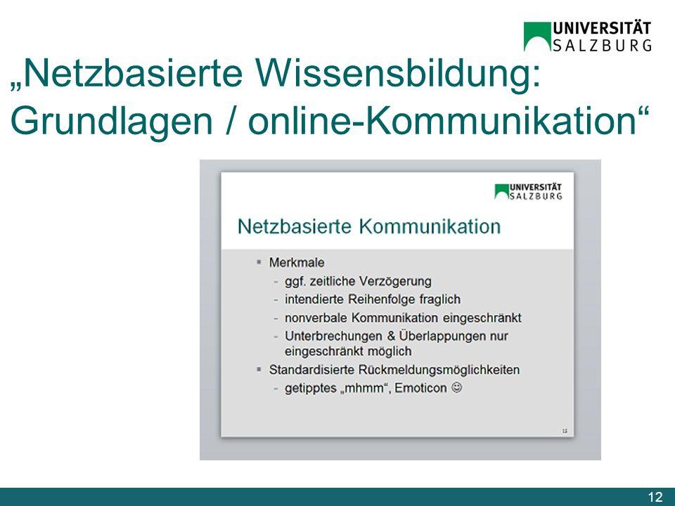Netzbasierte Wissensbildung: Grundlagen / online-Kommunikation 12