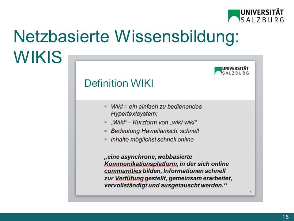 Netzbasierte Wissensbildung: WIKIS 15