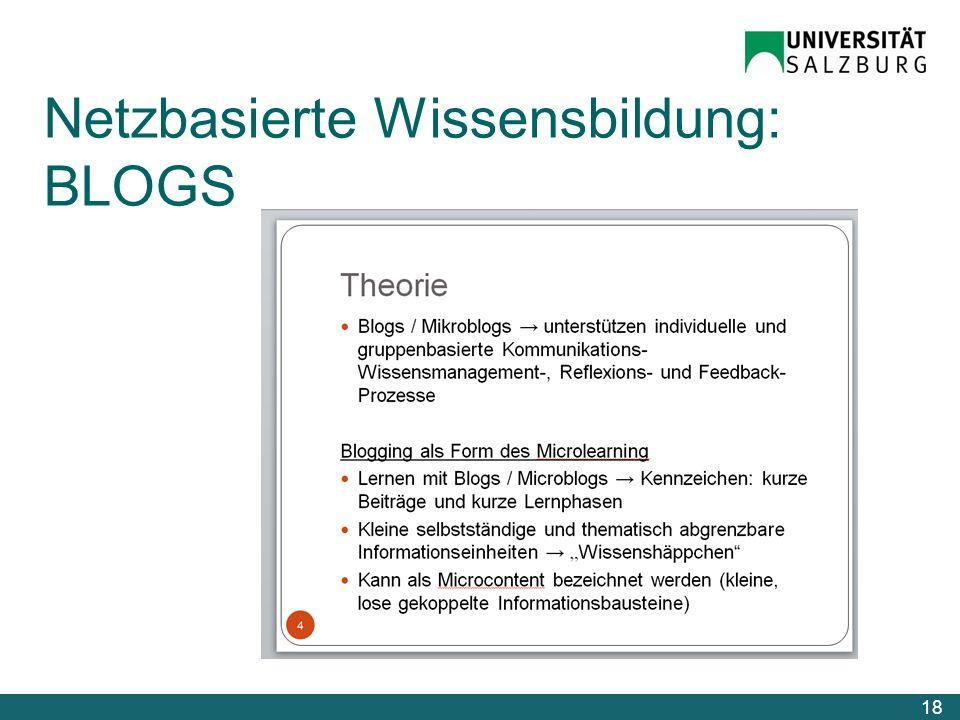 Netzbasierte Wissensbildung: BLOGS 18
