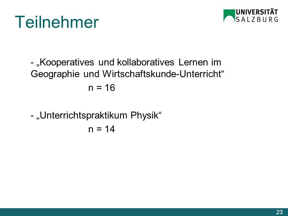 Teilnehmer - Kooperatives und kollaboratives Lernen im Geographie und Wirtschaftskunde-Unterricht n = 16 - Unterrichtspraktikum Physik n = 14 23