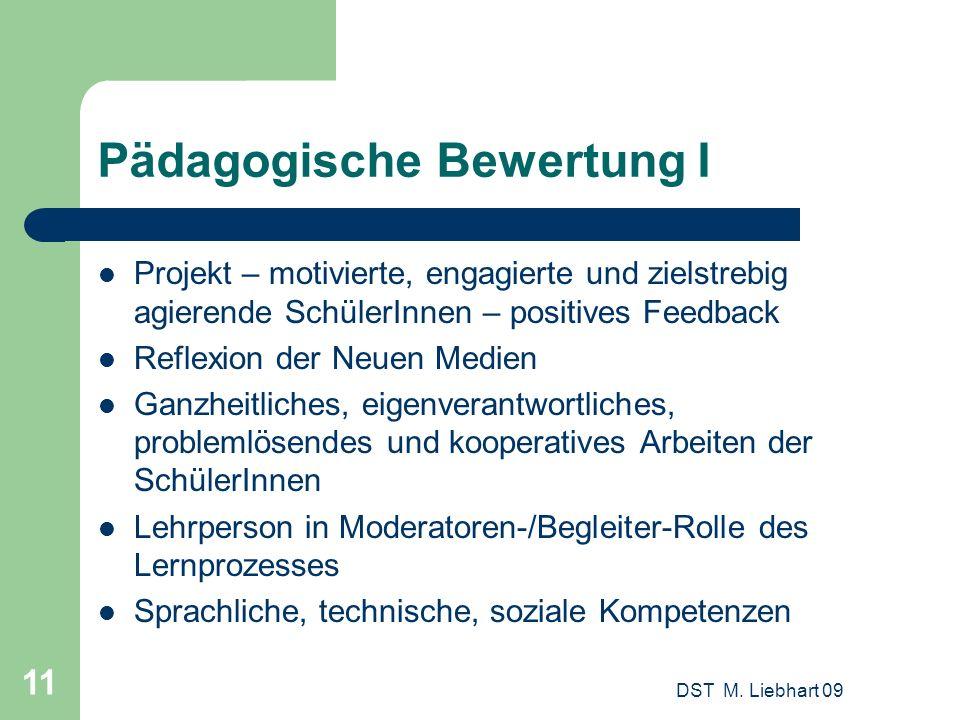 DST M. Liebhart 09 11 Pädagogische Bewertung I Projekt – motivierte, engagierte und zielstrebig agierende SchülerInnen – positives Feedback Reflexion