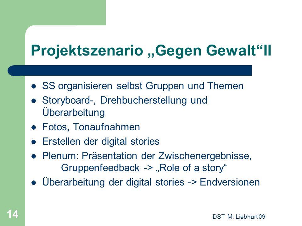 Projektszenario Gegen GewaltII SS organisieren selbst Gruppen und Themen Storyboard-, Drehbucherstellung und Überarbeitung Fotos, Tonaufnahmen Erstell
