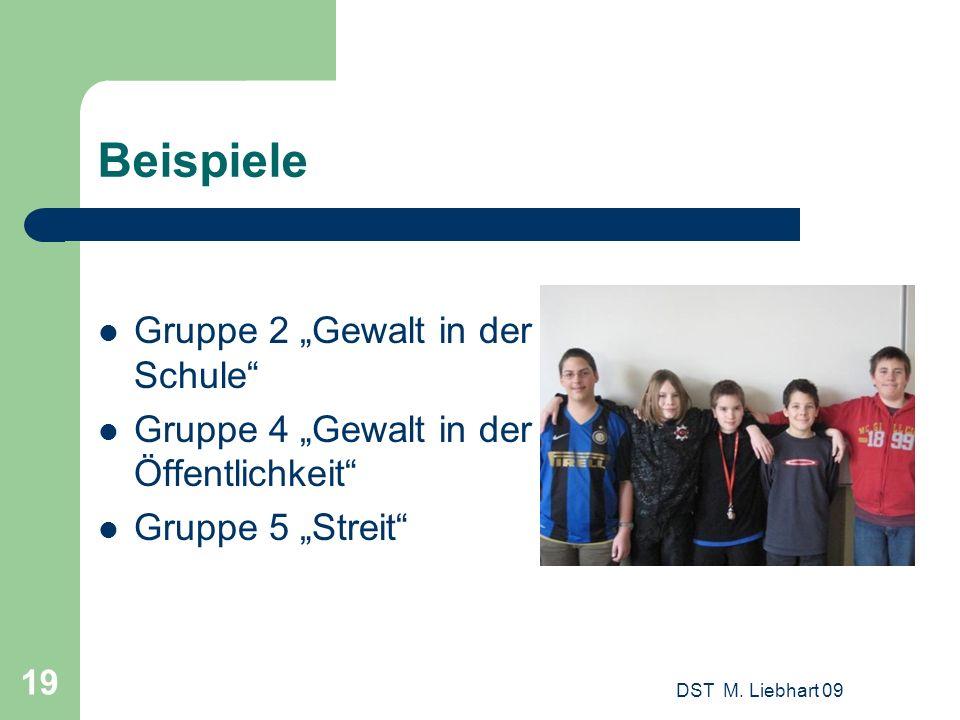 Beispiele Gruppe 2 Gewalt in der Schule Gruppe 4 Gewalt in der Öffentlichkeit Gruppe 5 Streit DST M. Liebhart 09 19