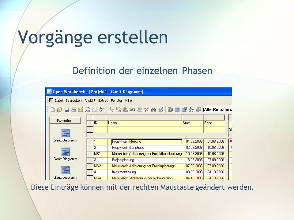 Vorgänge erstellen Definition der einzelnen Phasen Diese Einträge können mit der rechten Maustaste geändert werden.
