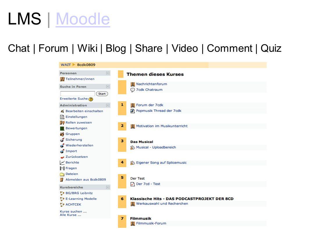 LMS | MoodleMoodle Chat | Forum | Wiki | Blog | Share | Video | Comment | Quiz