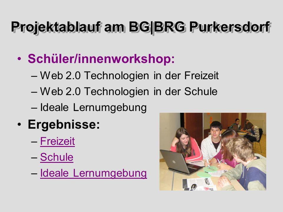 Projektablauf am BG|BRG Purkersdorf Schüler/innenworkshop: –Web 2.0 Technologien in der Freizeit –Web 2.0 Technologien in der Schule –Ideale Lernumgebung Ergebnisse: –FreizeitFreizeit –SchuleSchule –Ideale LernumgebungIdeale Lernumgebung