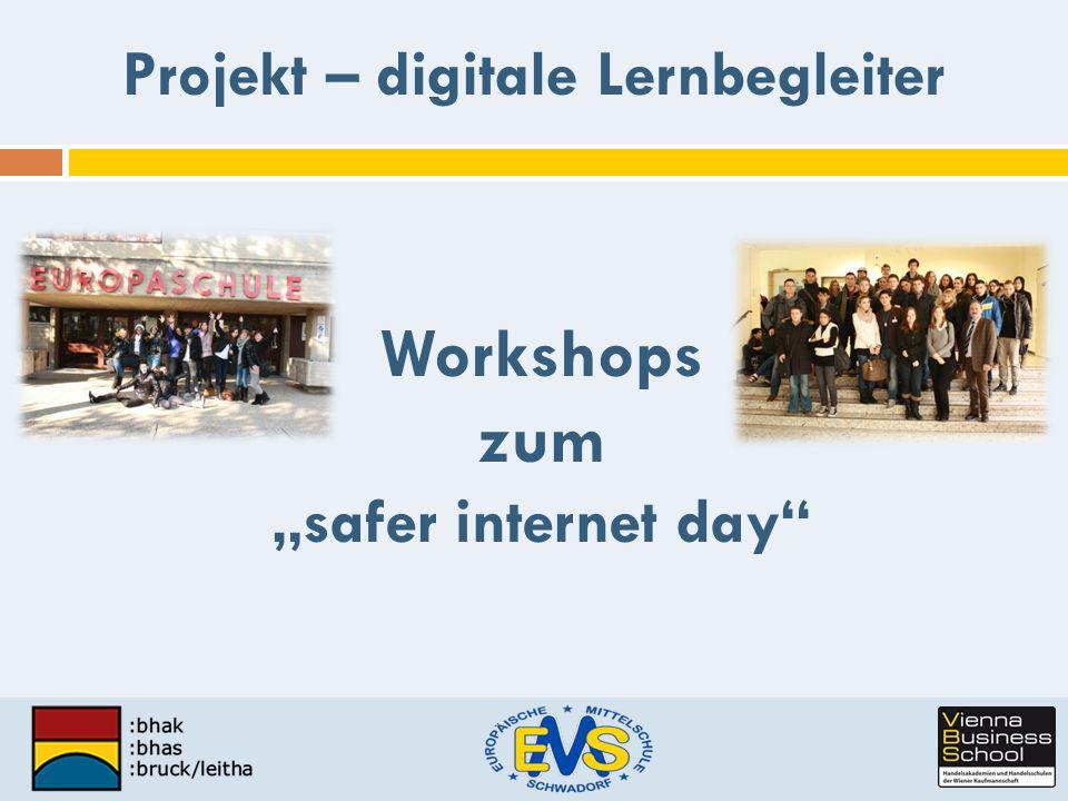 Workshops zum safer internet day Projekt – digitale Lernbegleiter
