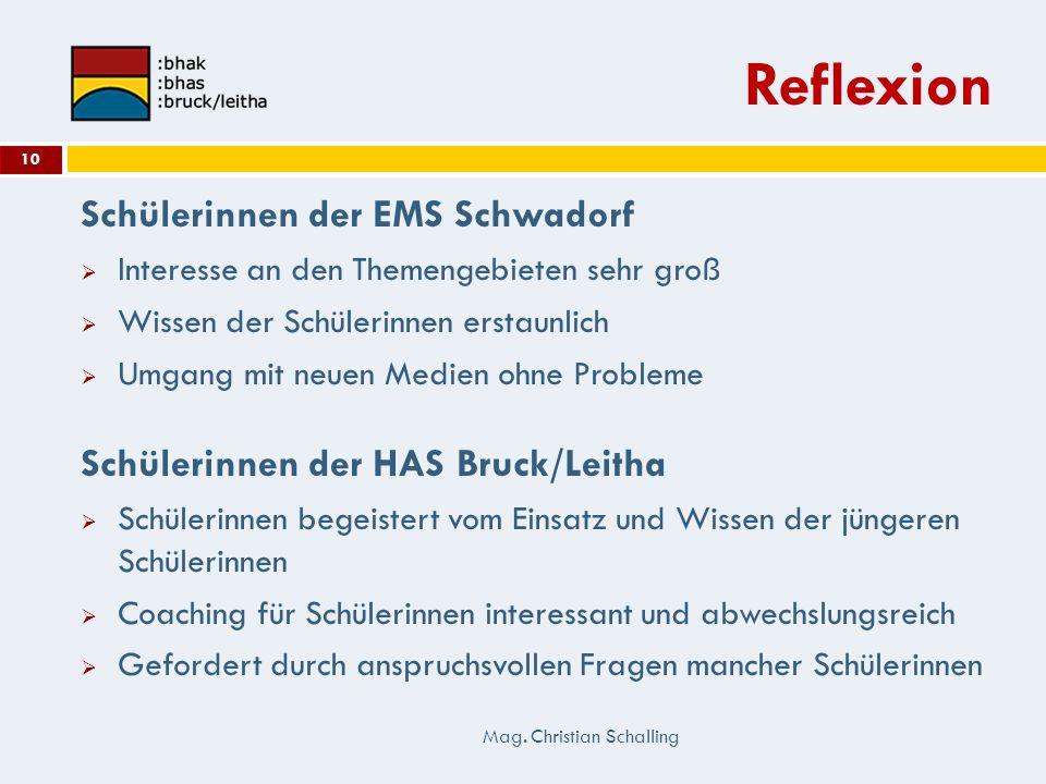 Reflexion Mag. Christian Schalling 10 Schülerinnen der EMS Schwadorf Interesse an den Themengebieten sehr groß Wissen der Schülerinnen erstaunlich Umg