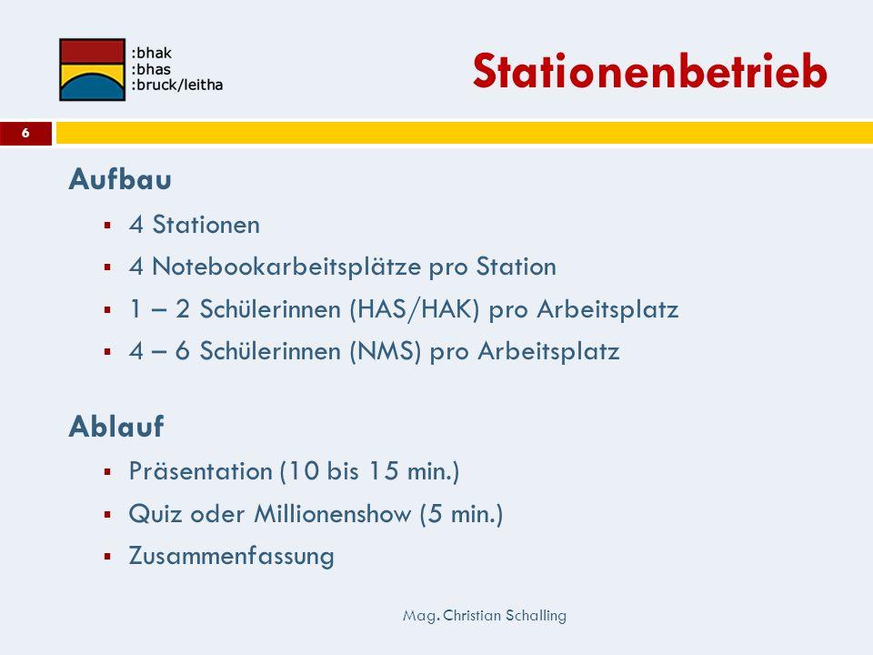 Stationenbetrieb Aufbau 4 Stationen 4 Notebookarbeitsplätze pro Station 1 – 2 Schülerinnen (HAS/HAK) pro Arbeitsplatz 4 – 6 Schülerinnen (NMS) pro Arb