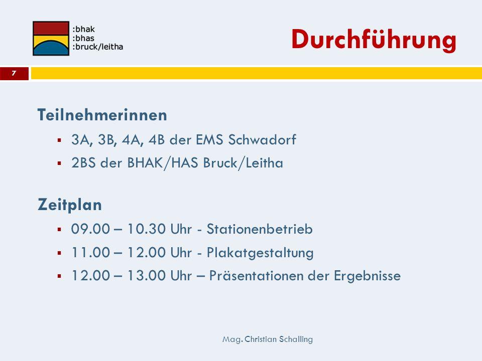 Durchführung Teilnehmerinnen 3A, 3B, 4A, 4B der EMS Schwadorf 2BS der BHAK/HAS Bruck/Leitha Zeitplan 09.00 – 10.30 Uhr - Stationenbetrieb 11.00 – 12.0