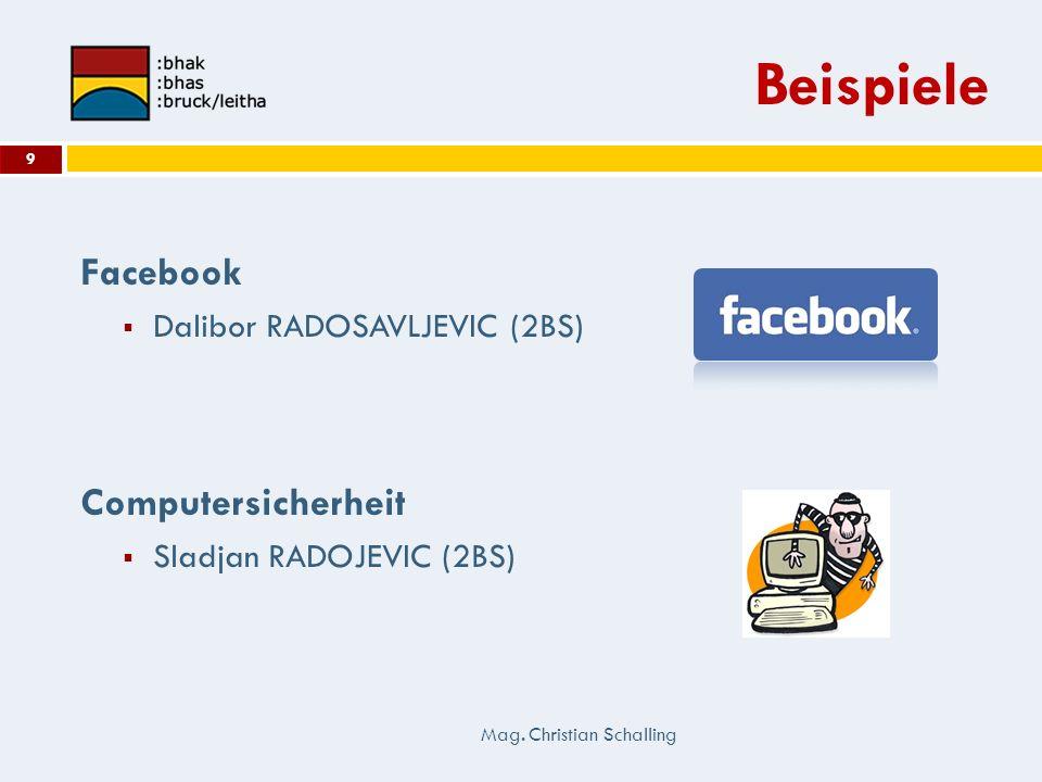 Beispiele Facebook Dalibor RADOSAVLJEVIC (2BS) Computersicherheit Sladjan RADOJEVIC (2BS) Mag. Christian Schalling 9