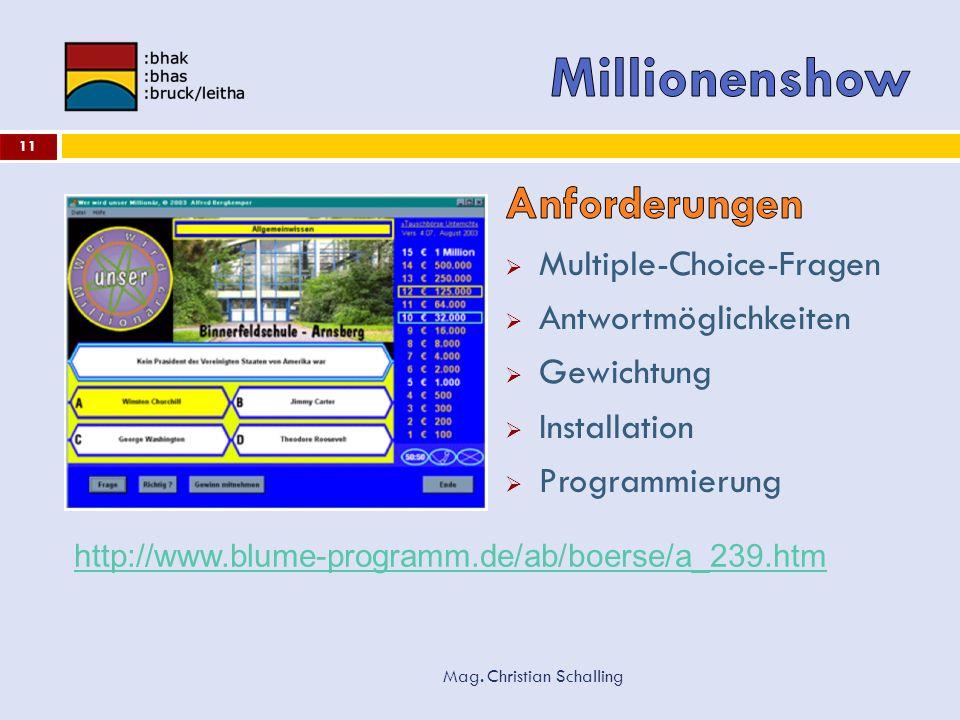 Mag. Christian Schalling 11 http://www.blume-programm.de/ab/boerse/a_239.htm
