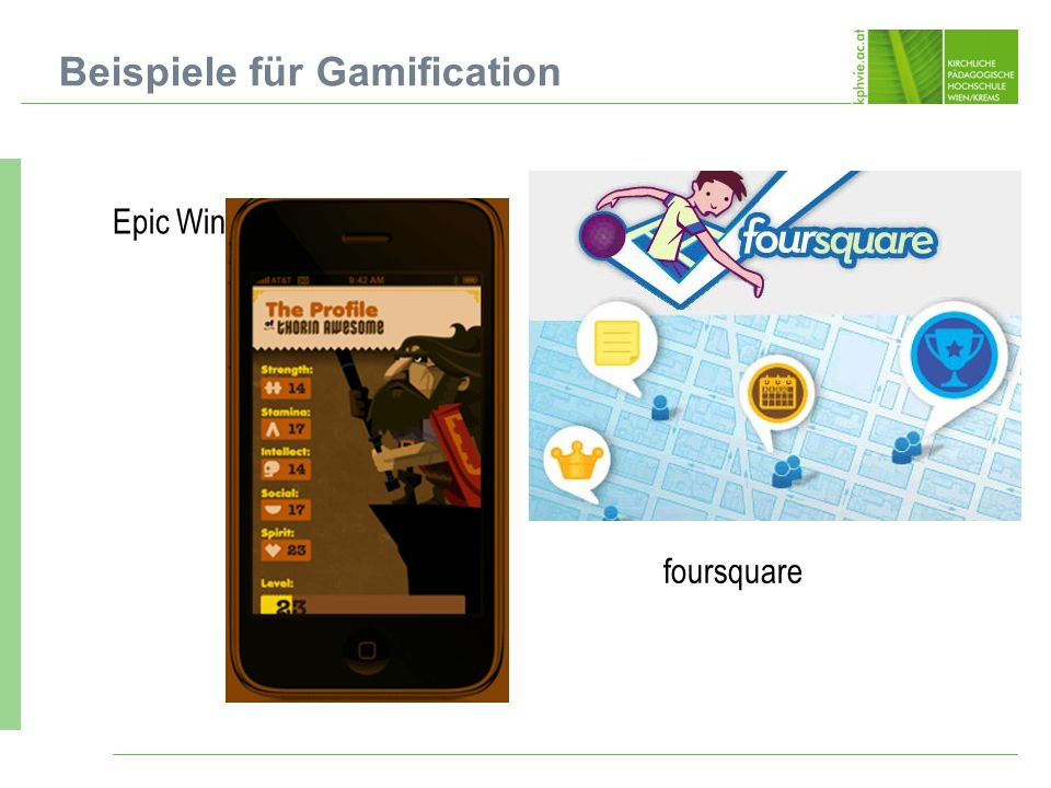 Epic Win Beispiele für Gamification foursquare