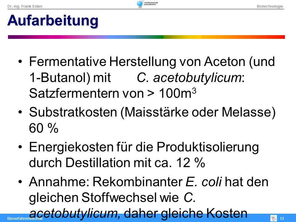 Dr.-Ing. Frank Eiden Biotechnologie Bioverfahrenstechnik: 13 Aufarbeitung Fermentative Herstellung von Aceton (und 1-Butanol) mit C. acetobutylicum: S
