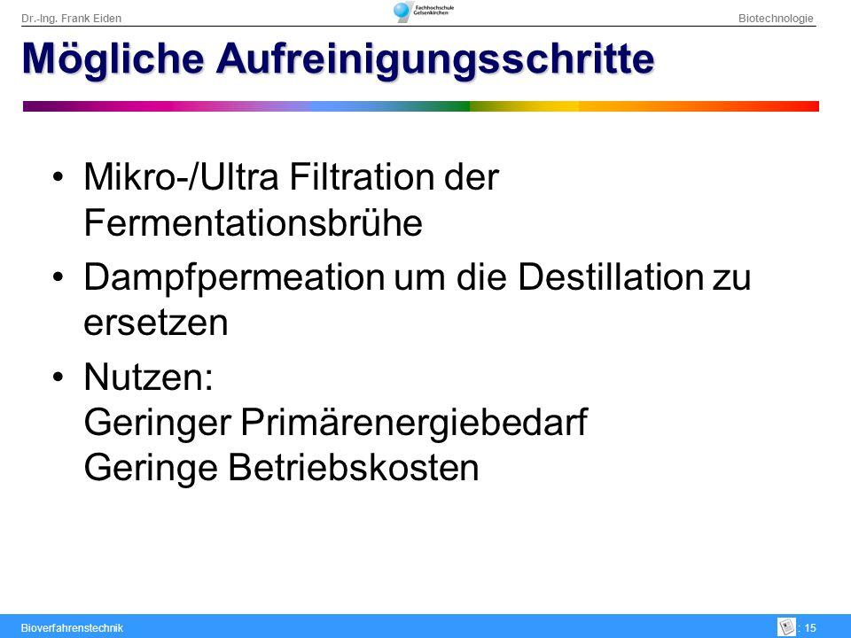 Dr.-Ing. Frank Eiden Biotechnologie Bioverfahrenstechnik: 15 Mögliche Aufreinigungsschritte Mikro-/Ultra Filtration der Fermentationsbrühe Dampfpermea