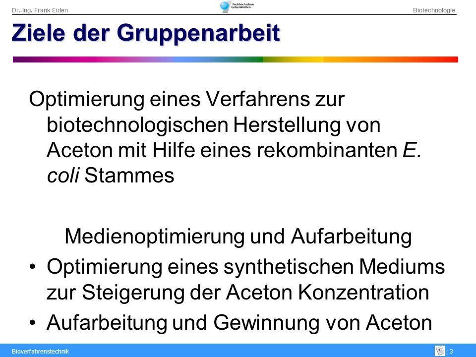 Dr.-Ing. Frank Eiden Biotechnologie Bioverfahrenstechnik: 3 Ziele der Gruppenarbeit Optimierung eines Verfahrens zur biotechnologischen Herstellung vo