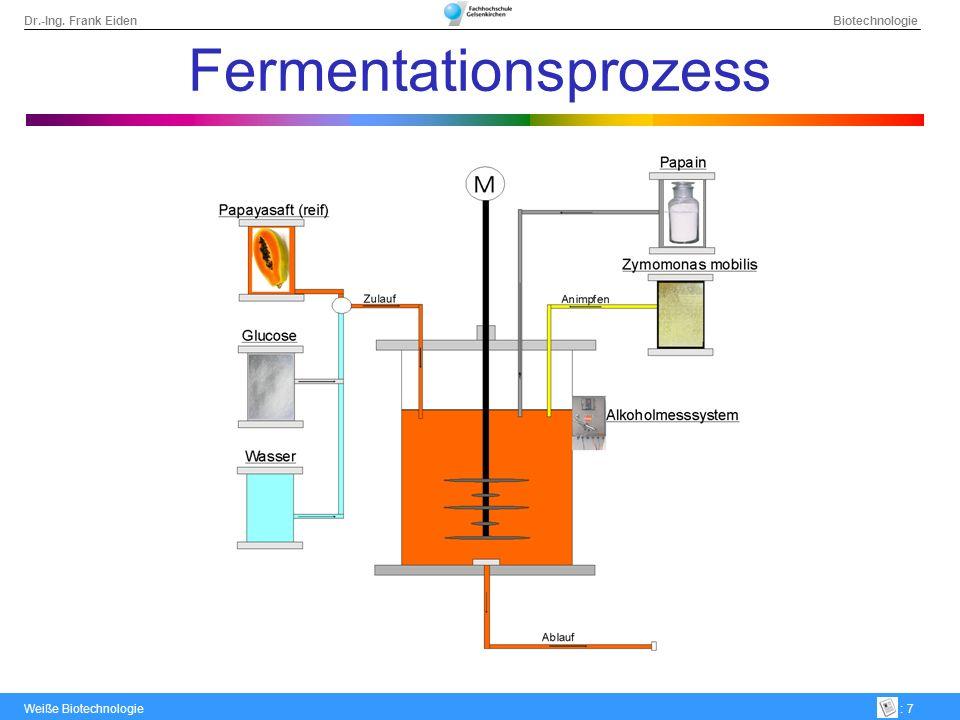 Dr.-Ing. Frank Eiden Biotechnologie Weiße Biotechnologie: 7 Fermentationsprozess
