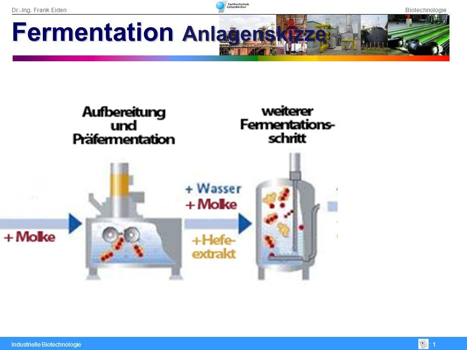 Dr.-Ing. Frank Eiden Biotechnologie Industrielle Biotechnologie: 1 Fermentation Anlagenskizze