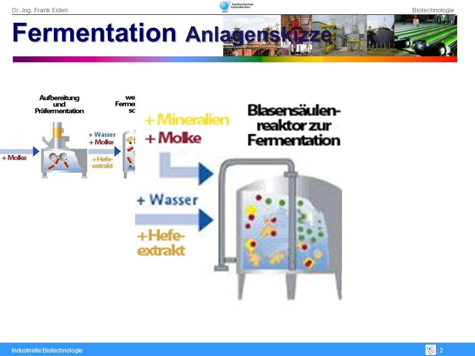 Dr.-Ing. Frank Eiden Biotechnologie Industrielle Biotechnologie: 2 Fermentation Anlagenskizze