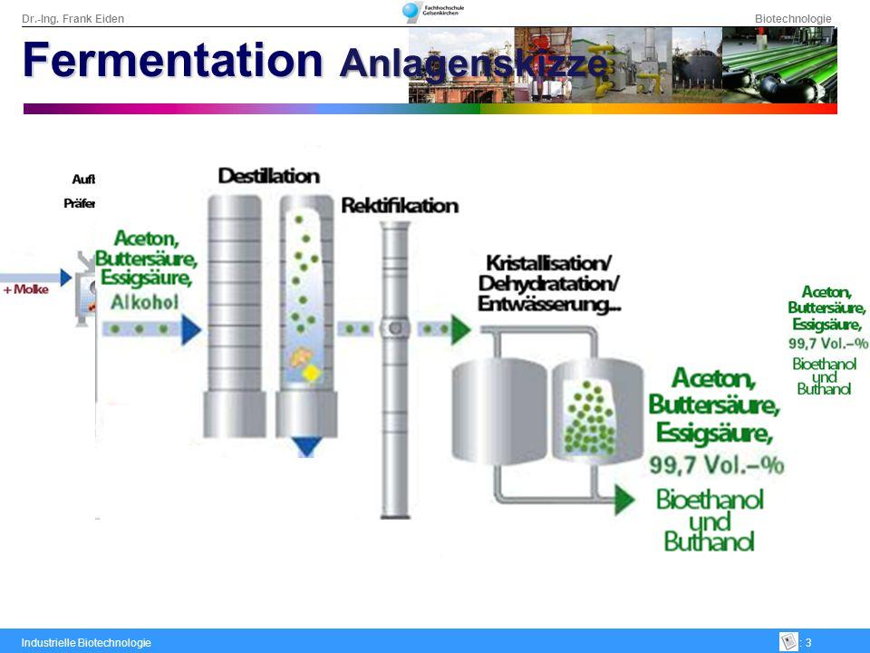 Dr.-Ing. Frank Eiden Biotechnologie Industrielle Biotechnologie: 3 Fermentation Anlagenskizze