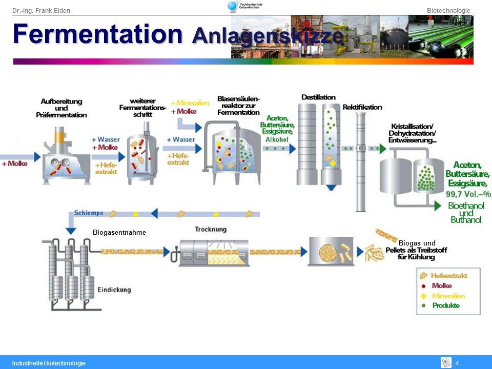 Dr.-Ing. Frank Eiden Biotechnologie Industrielle Biotechnologie: 4 Biogas und Biogasentnahme Fermentation Anlagenskizze