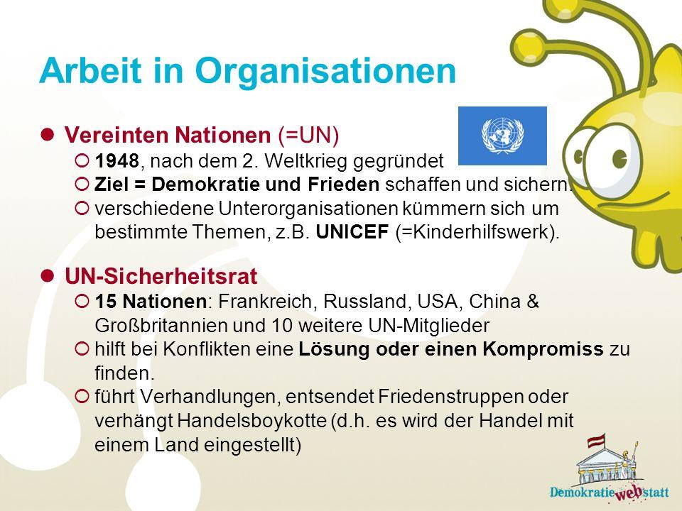Arbeit in Organisationen Vereinten Nationen (=UN) 1948, nach dem 2.