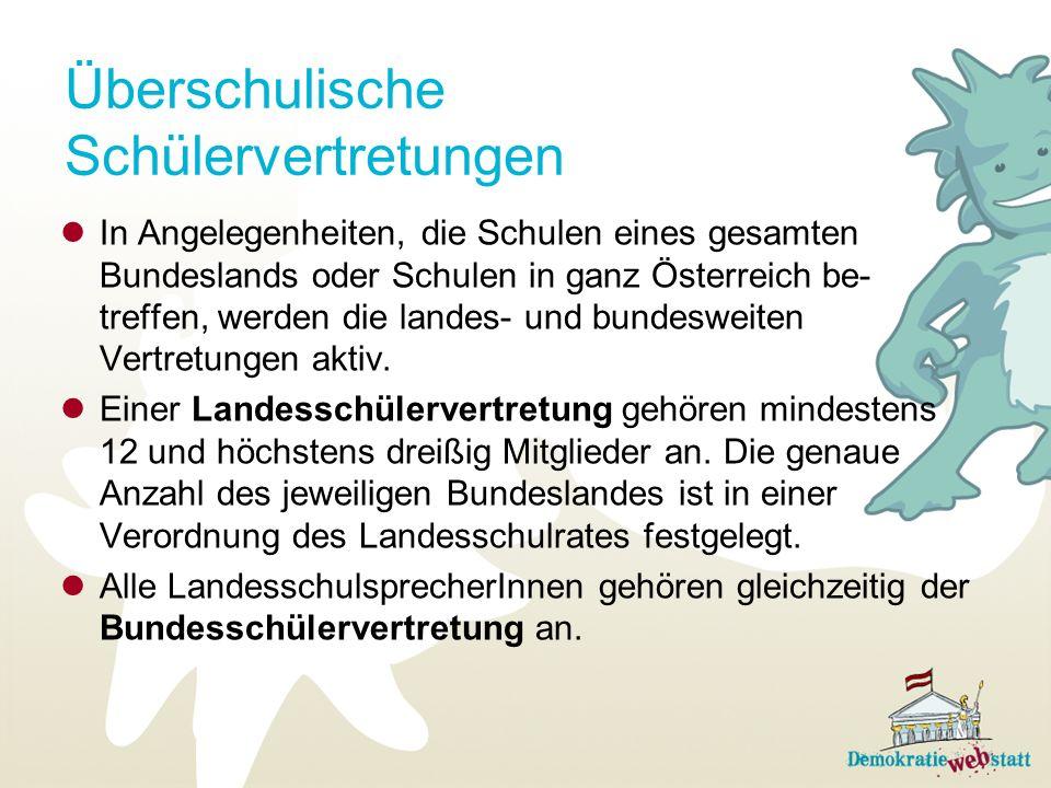 Überschulische Schülervertretungen In Angelegenheiten, die Schulen eines gesamten Bundeslands oder Schulen in ganz Österreich be- treffen, werden die landes- und bundesweiten Vertretungen aktiv.