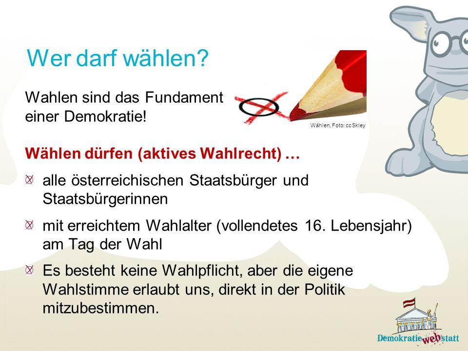 Wahlen sind das Fundament einer Demokratie! Wählen dürfen (aktives Wahlrecht) … alle österreichischen Staatsbürger und Staatsbürgerinnen mit erreichte
