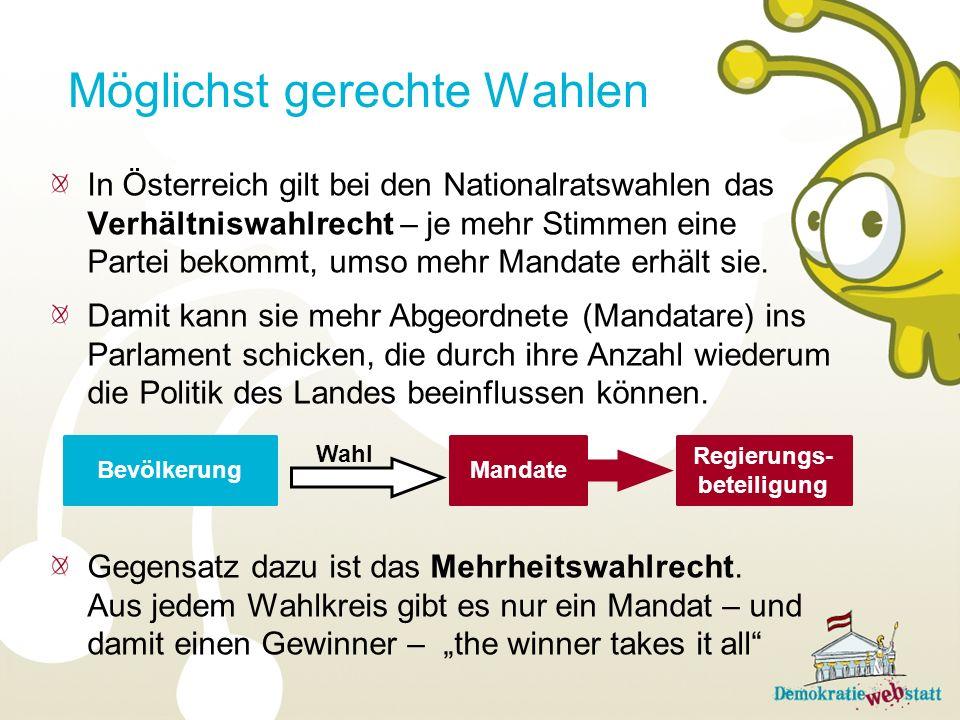 In Österreich gilt bei den Nationalratswahlen das Verhältniswahlrecht – je mehr Stimmen eine Partei bekommt, umso mehr Mandate erhält sie. Damit kann