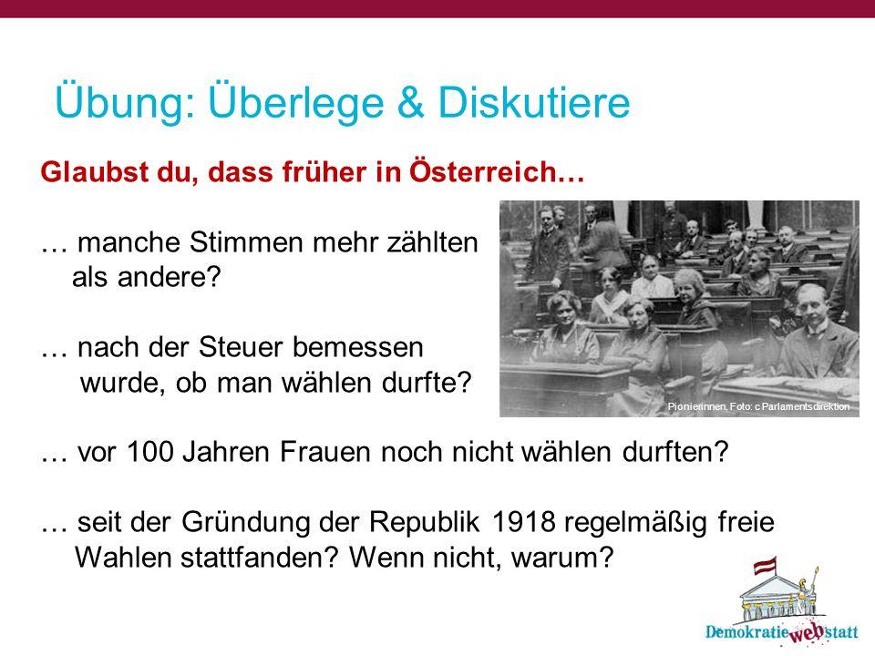 Übung: Überlege & Diskutiere Glaubst du, dass früher in Österreich… … manche Stimmen mehr zählten als andere? … nach der Steuer bemessen wurde, ob man