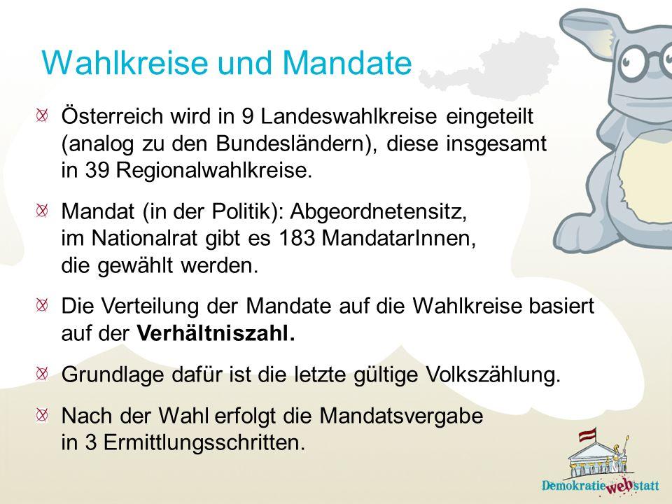 Wahlkreise und Mandate Österreich wird in 9 Landeswahlkreise eingeteilt (analog zu den Bundesländern), diese insgesamt in 39 Regionalwahlkreise. Manda