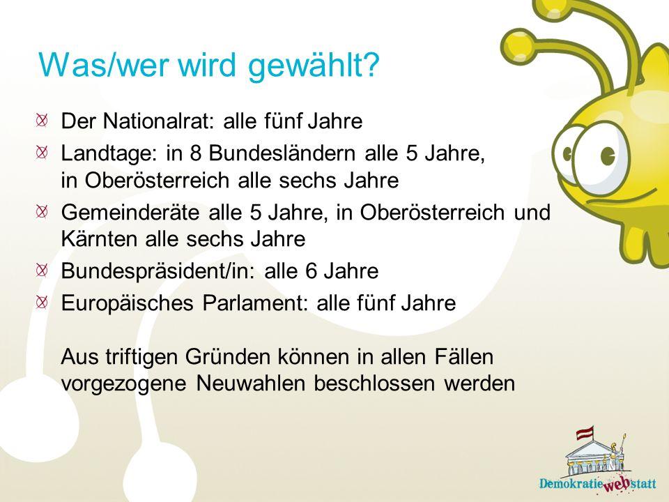 Der Nationalrat: alle fünf Jahre Landtage: in 8 Bundesländern alle 5 Jahre, in Oberösterreich alle sechs Jahre Gemeinderäte alle 5 Jahre, in Oberöster