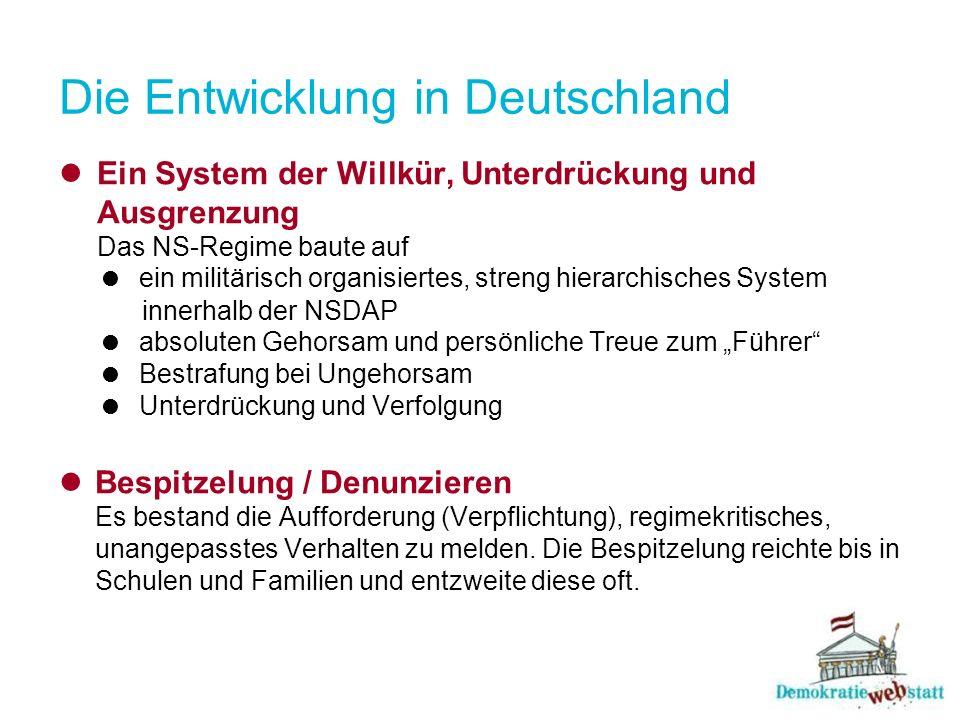 Die Entwicklung in Deutschland Ein System der Willkür, Unterdrückung und Ausgrenzung Das NS-Regime baute auf ein militärisch organisiertes, streng hie