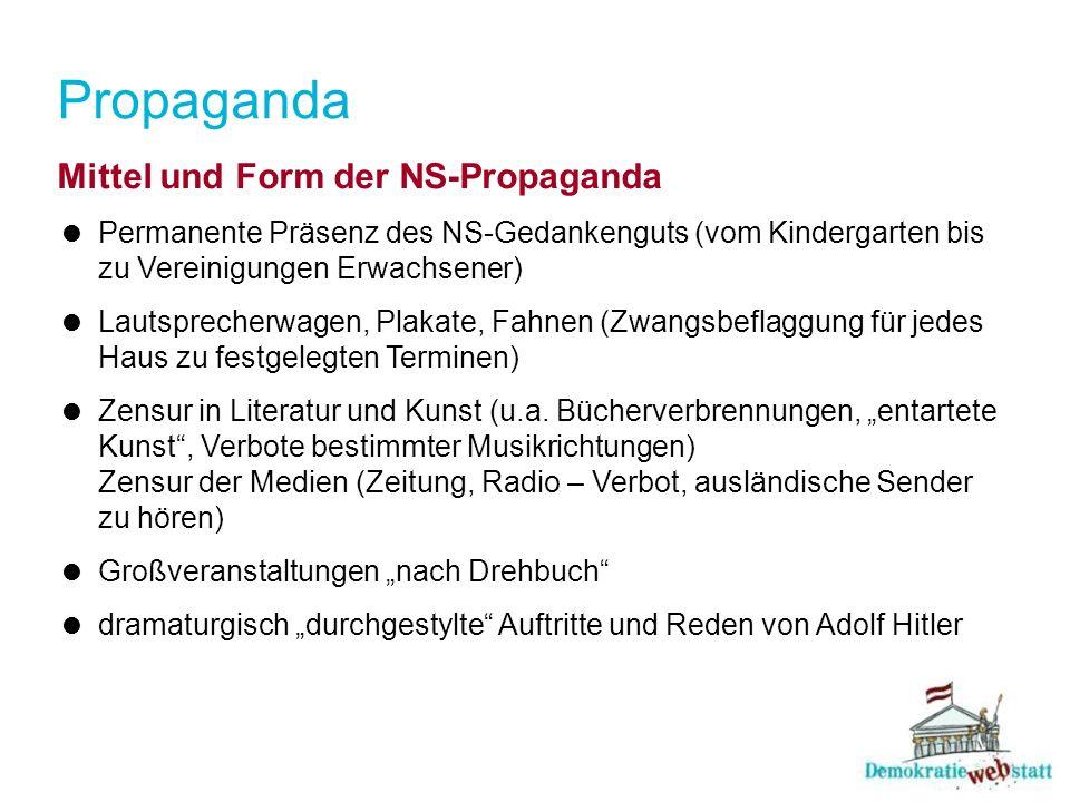 Propaganda Mittel und Form der NS-Propaganda Permanente Präsenz des NS-Gedankenguts (vom Kindergarten bis zu Vereinigungen Erwachsener) Lautsprecherwa