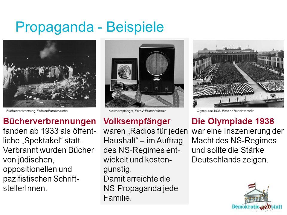 Propaganda - Beispiele Die Olympiade 1936 war eine Inszenierung der Macht des NS-Regimes und sollte die Stärke Deutschlands zeigen. Bücherverbrennung,