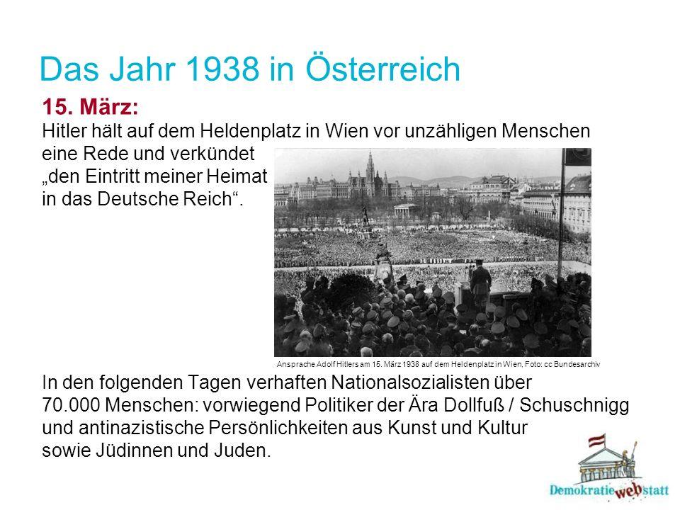 Das Jahr 1938 in Österreich 15. März: Hitler hält auf dem Heldenplatz in Wien vor unzähligen Menschen eine Rede und verkündet den Eintritt meiner Heim