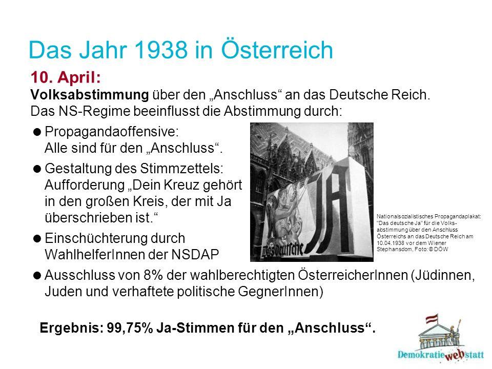 Das Jahr 1938 in Österreich 10. April: Volksabstimmung über den Anschluss an das Deutsche Reich. Das NS-Regime beeinflusst die Abstimmung durch: Propa