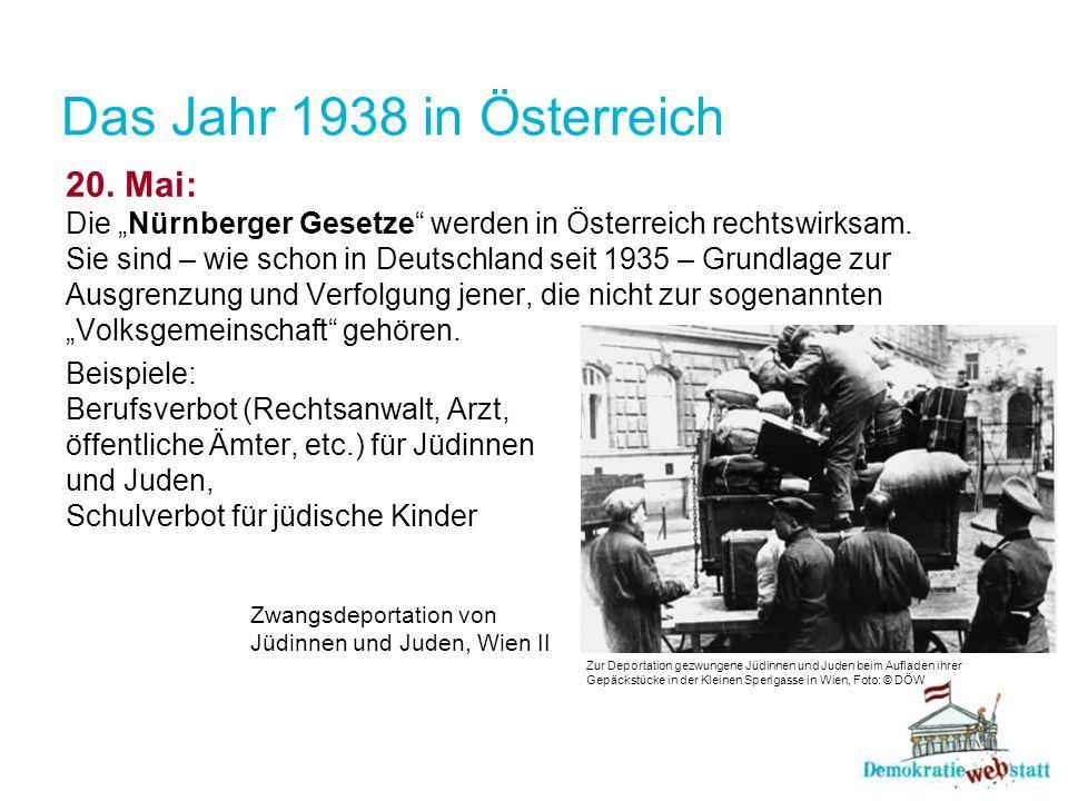 Das Jahr 1938 in Österreich 20. Mai: Die Nürnberger Gesetze werden in Österreich rechtswirksam. Sie sind – wie schon in Deutschland seit 1935 – Grundl
